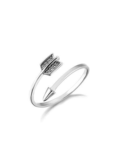 Piano Jewellery Cabaret Ok Altın Yüzük 14 Ayar Gümüş